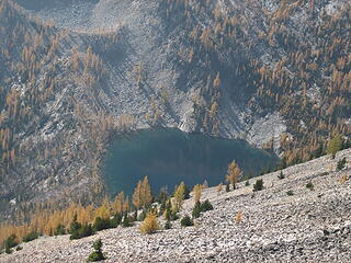 Rampart lake with lots of larches