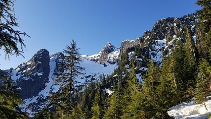 Looking up to Lone Tree Pass