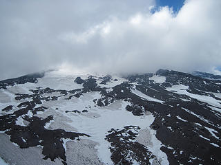 Our high point on the south face of Lanin where wind forced a retreat