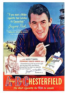 1950 Chesterfield Cigarette ad Gregory Peck
