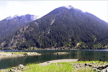 VIEW OF LAKE CUSHMAN AND COPPER MOUNTAIN FROM DRY CREEK GUARD STATION SITE