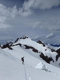 As Neek mentioned above, this is where we got onto the Walrus glacier to avoid that climb back up Clark on our return.