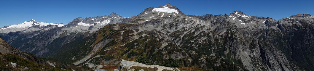 1. Sahale in the middle (trail up the arm visible). Eldorado and Forbidden to the left, Buckner to the right