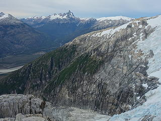 Looking down the next valley with rugged glacier