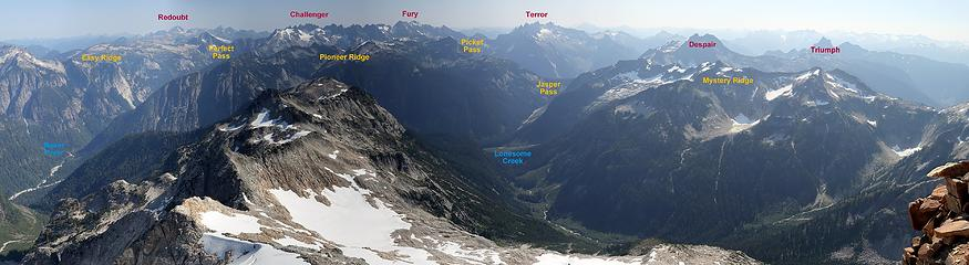 Wider view east into the Pickets, some of the wildest terrain in the Cascades; not a single trail runs through any pass, ridge, valley, or peak in the center of this photo