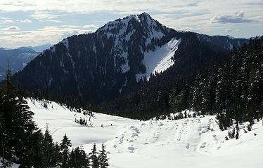 Hiking past the old avalanche debris, with Lookout Mtn above