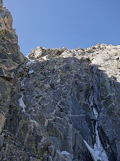 Rappelling the north couloir