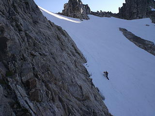 Fay traversing steep, icy snow on the way to W Fury.