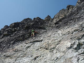 Josh downclimbing
