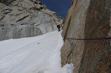 Ascending the Amy couloir