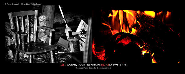 Left: Chair, wood pile and axe Right: A toasty fire