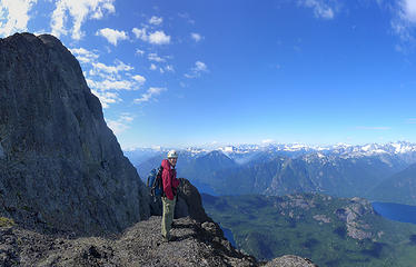 Ledge above the steep part of the ridge, below the easy summit scramble.