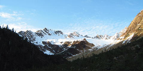 Headwaters of Green Creek drainage with southern Twin Sisters Range.