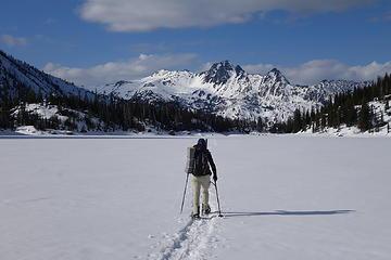 Snowshoeing across Colchuck Lake