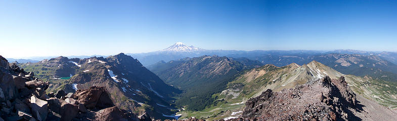 Panorama from near the top of Old Snowy Mountain in the Goat Rocks Wilderness in Washington State.