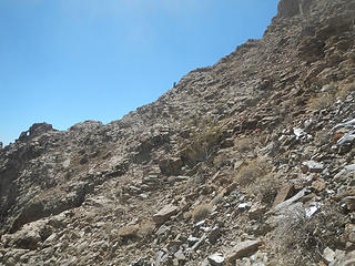 a view of someone on the sub-ridge from lower in the amphitheater