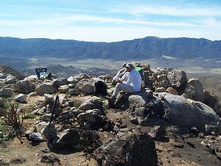 Daniel & MM resting on the summit of Grapevine Mtn.