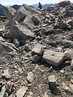 rocks and debris on summit