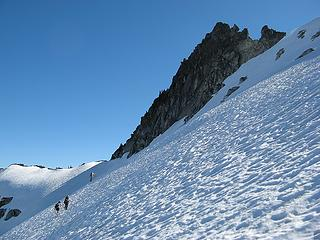 Nearing the base of the summit block under beautiful blue skies