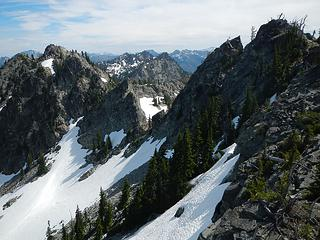 the pass between central and north peaks