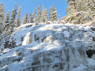 Frozen waterfall rock face