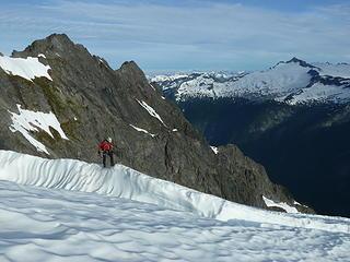 Wayne end-running the bergschrund.