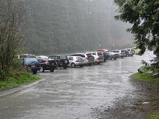 Back to parking lot with a pretty good downpour of rain and wet snow.