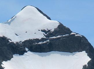 If you look close, you can see our tracks at lower right and the summit cairn at top
