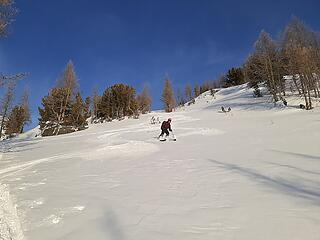 Skiing out
