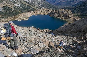 Rock hopping down to Ingalls Lake