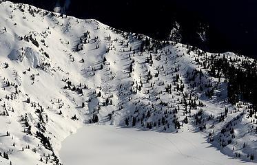 Ski tracks on the far side of Monogram Lake