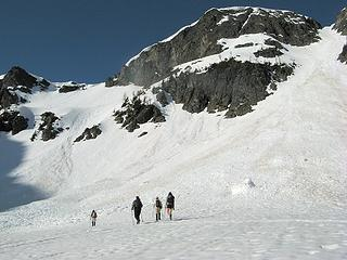 Deciding to go up the righthand gully