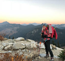 Katharina, from Munich, the last northbound PCT thru hiker from Mexico, Stevens Pass, WA 10/22/18