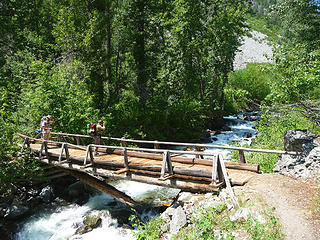 Robinson Creek bridge, closed to horses because of obvious damage