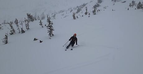 Skiing down the SE face