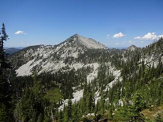 Grave Peak from near Friday Pass. The trail loses a few hundred feet here to traverse through the forest below.