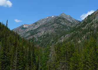 First view of Robinson (single small snow patch directly in the middle) from Beauty Creek crossing.