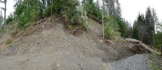 Fresh landslide onto the mailbox road/trail