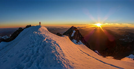 Sunset from the summit of Glacier Peak