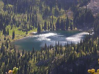 Upper Crystal lake from Crystal peak summit.