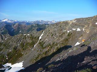 Niko working up sreen and rock on the ridge
