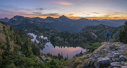 Rampart Lakes just before sunrise