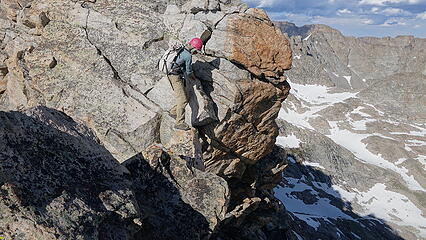 Eric on one of the cruxes of the ridge