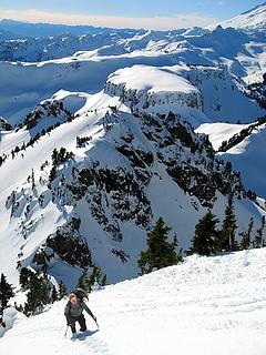 Ascending the Herman summit ridge