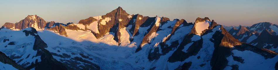 Forbidden Peak Sunset Panorama from Klawatti Col