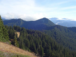 A view of the ridge between Scorpion Mtn and Captain Point.  the small bump in the middle is Point 5133.