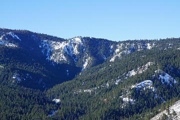 You can see the Devils Gulch Spur trail crossing along the canyon wall up valley.