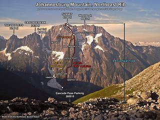The Triplets, Cascade Peak, and Johannesburg Mtn.  Photo courtesy of Steph Abegg.
