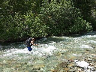 Josh making his way across Eureka Creek