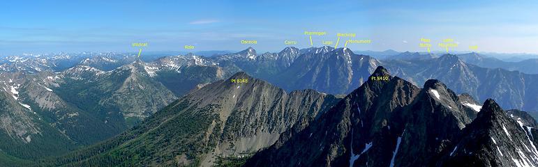 Panorama N from Robinson Mountain